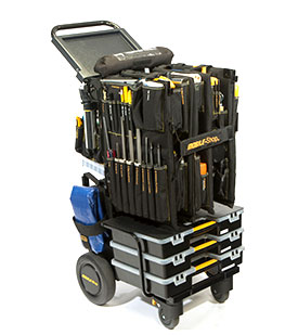 Image of a utility maintenance cart. This cart fits 230 professional tools & 160 parts.