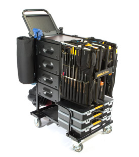 Image of an all black utility maintenance cart. This cart includes 230 tools and has 4 drawers.